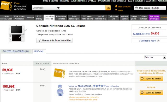 3DS XL blanche erreur fnac