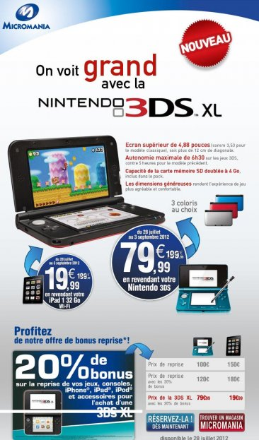 Reprise micromania nintendo 3ds ipad 17.07.2012