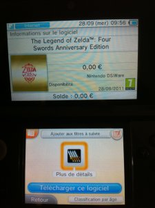 The legend Of Zelda Four sword Anniversary Edition nintendo eshop dsiware gratuit